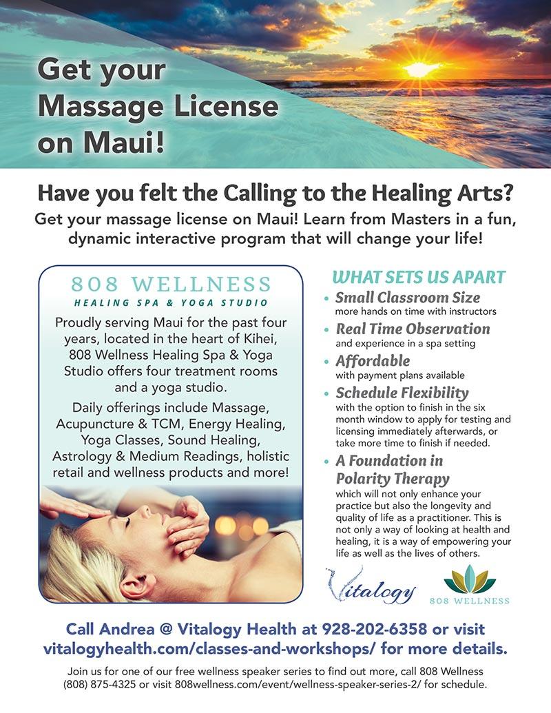 Maui Massage Apprenticeship with Vitalogy Health